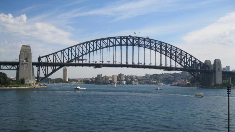 Puente frente al opera House , en Sidney .