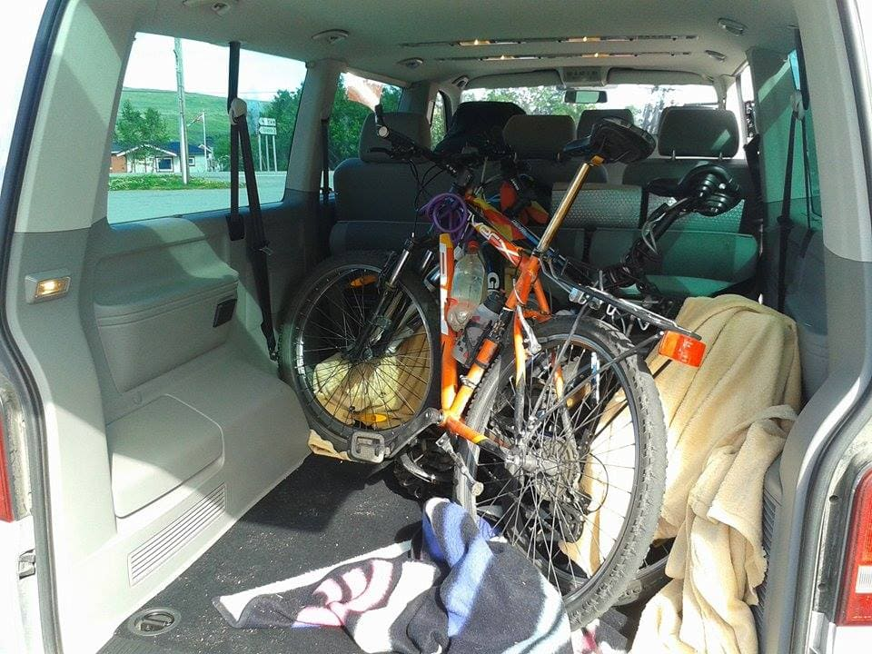 He allowed us to load our bikes in his van. Perfect travel without money.