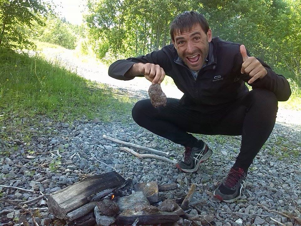 Making fire in the woods. Survival mode on.