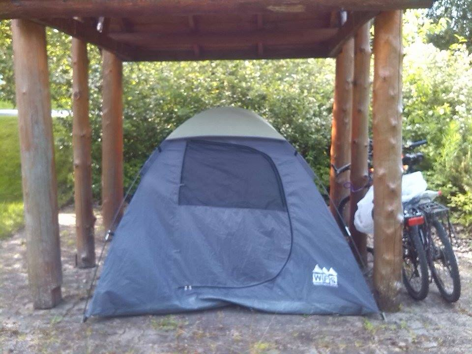 Our pitched tent in a camping area.
