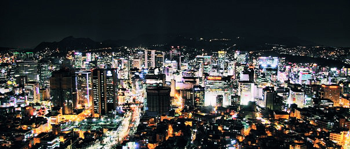 Korean City lights at night