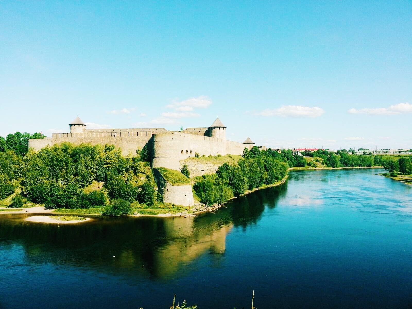 Narva River separating Russia and Estonia