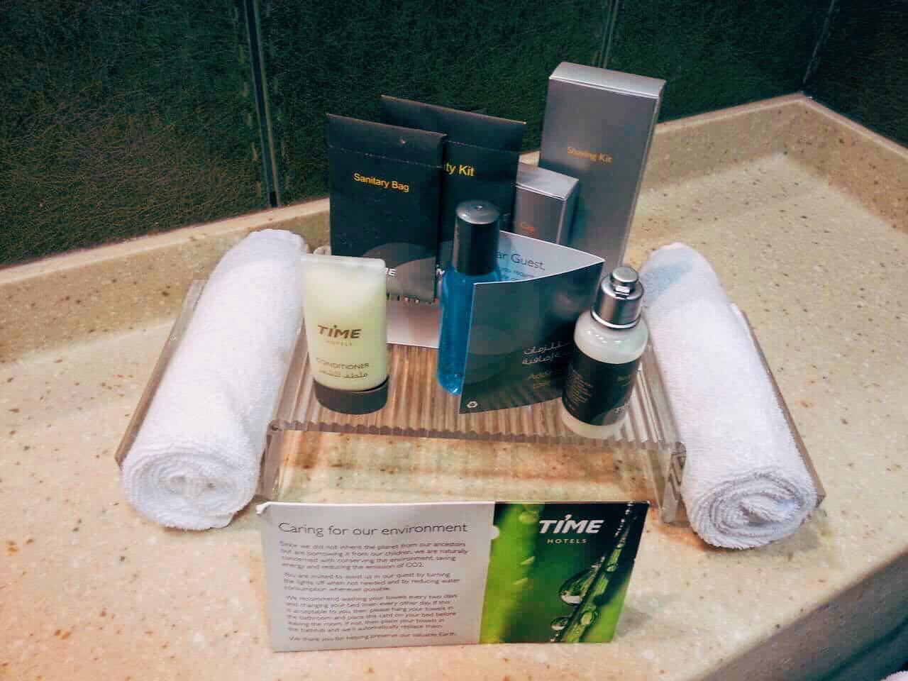 Complimentary toiletries at Time Oak Hotel.