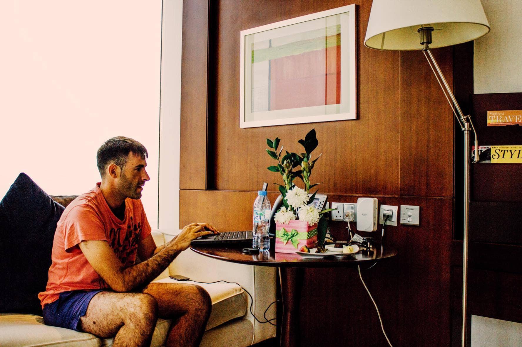 Ruben Arribas working in Nassima Hotel