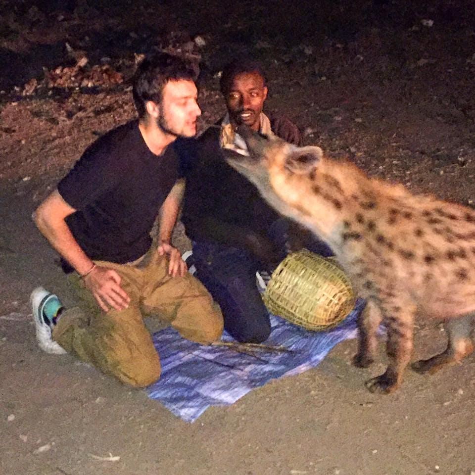 Max with the hyenas.