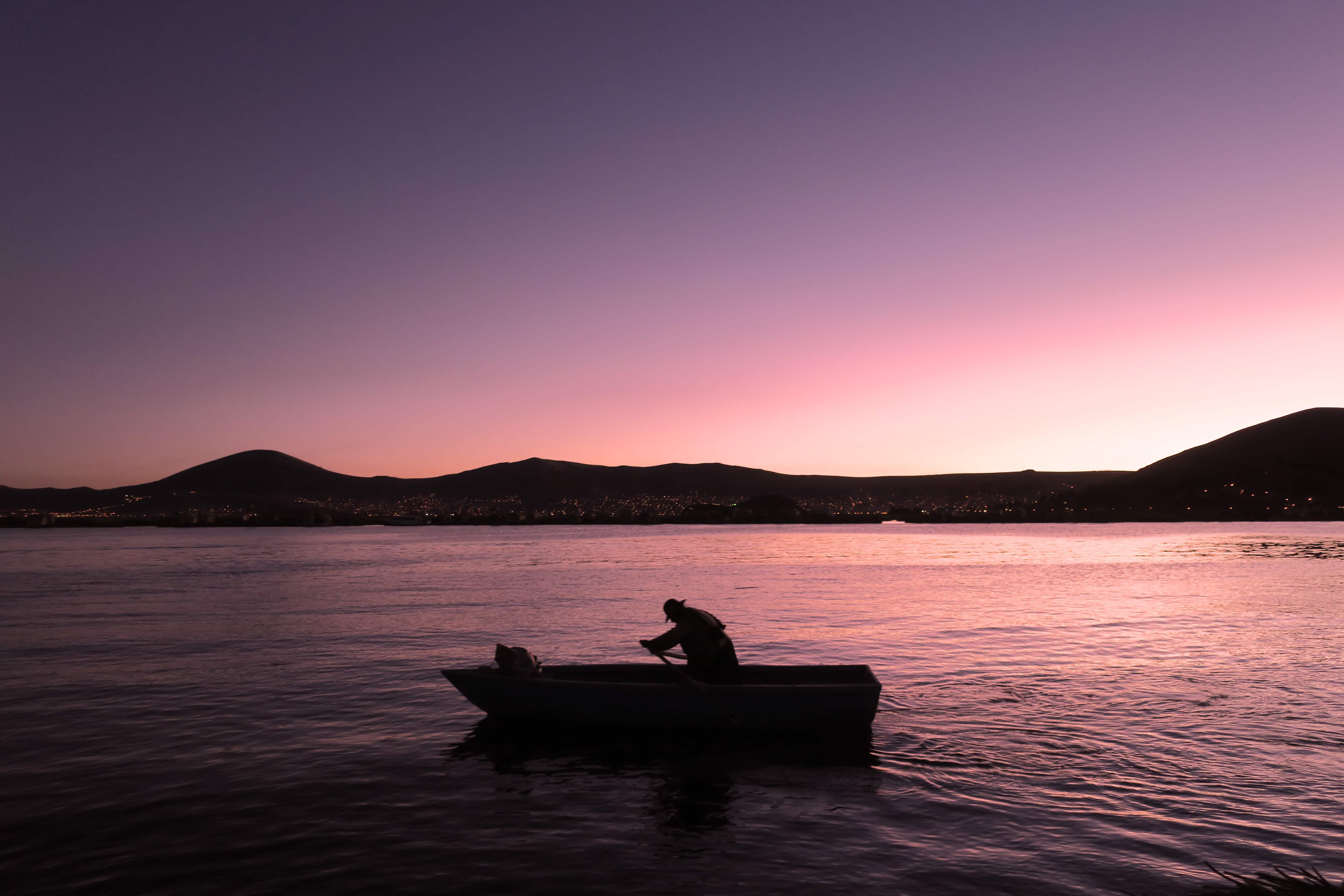 Sunset at Titicaca Lake.