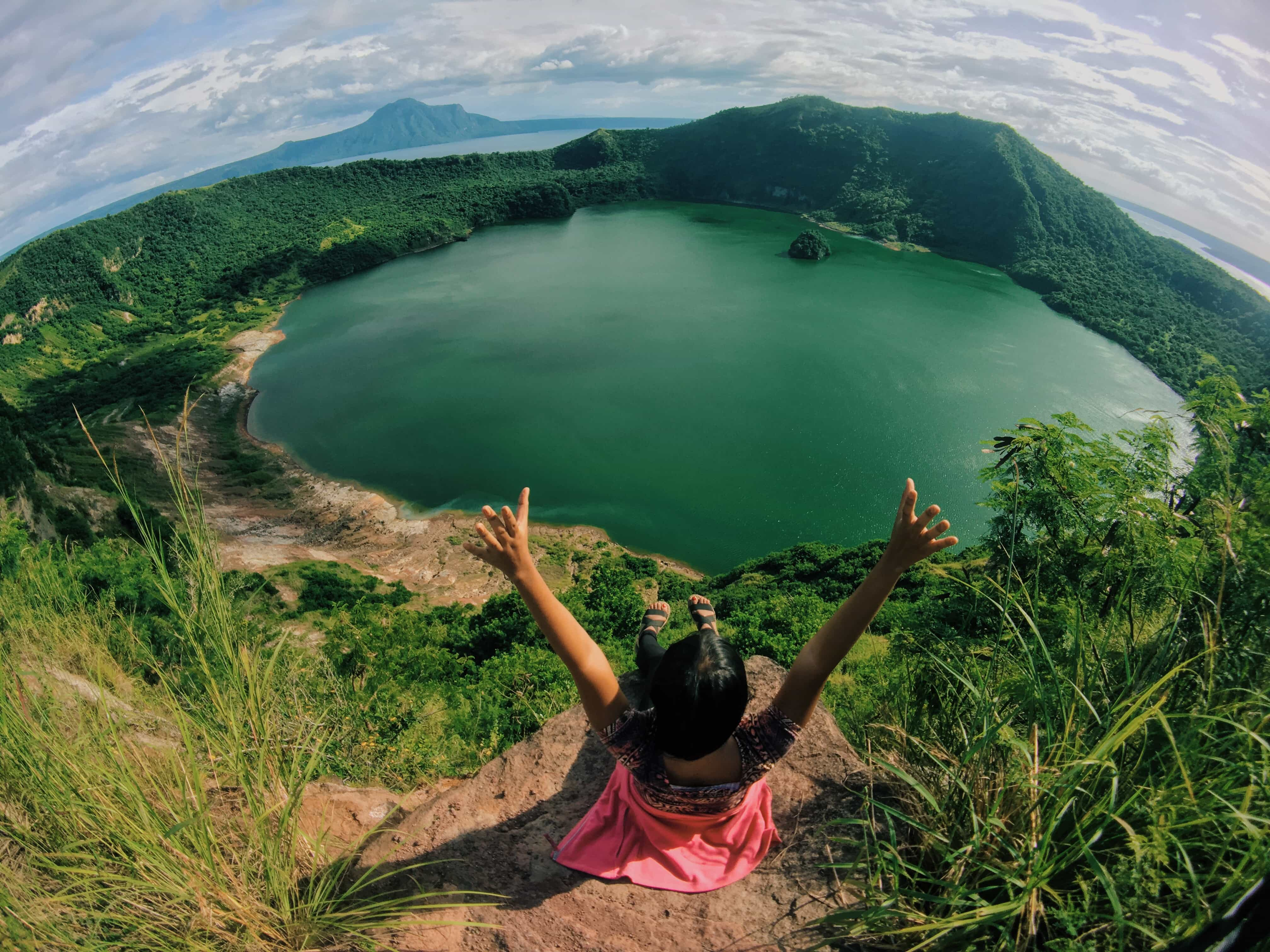 Rachel done with hiking Taal Volcano