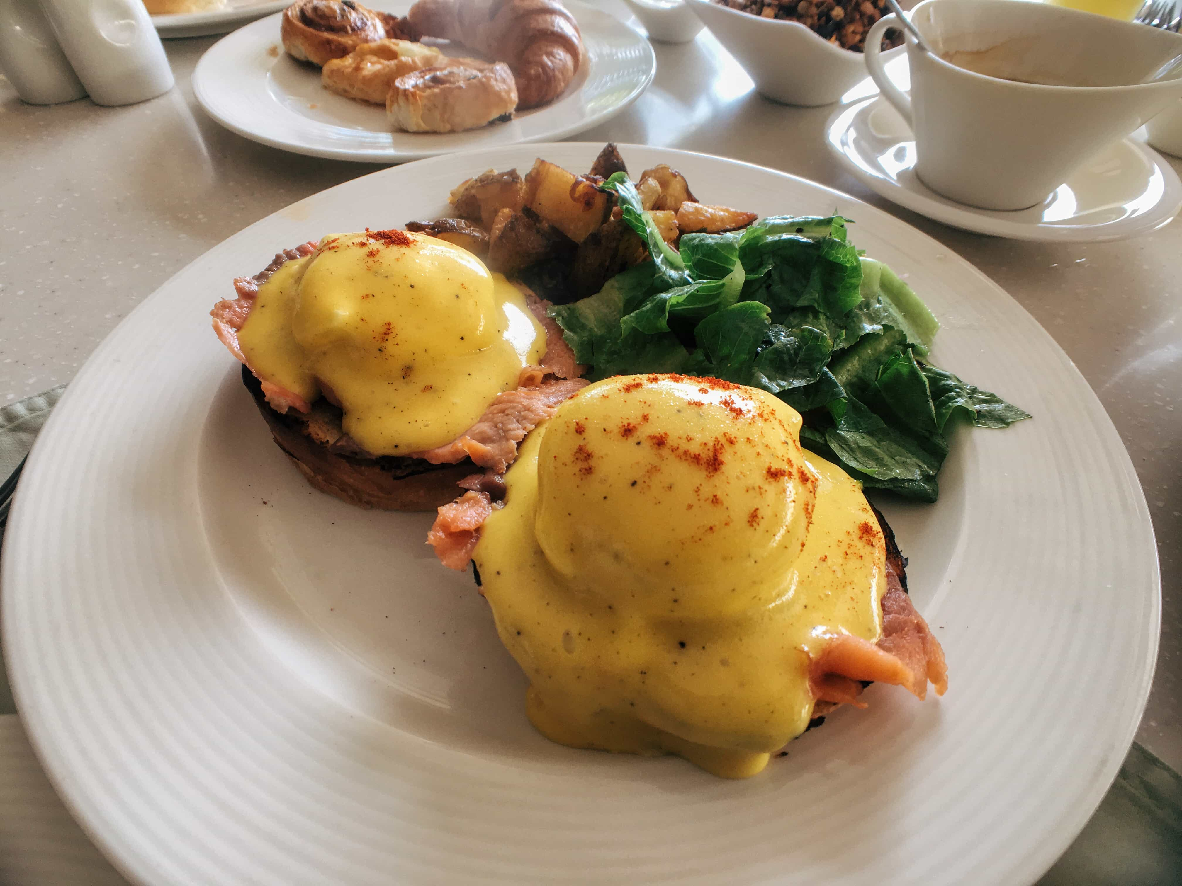 Eggs Benedict before hiking Taal Volvcano