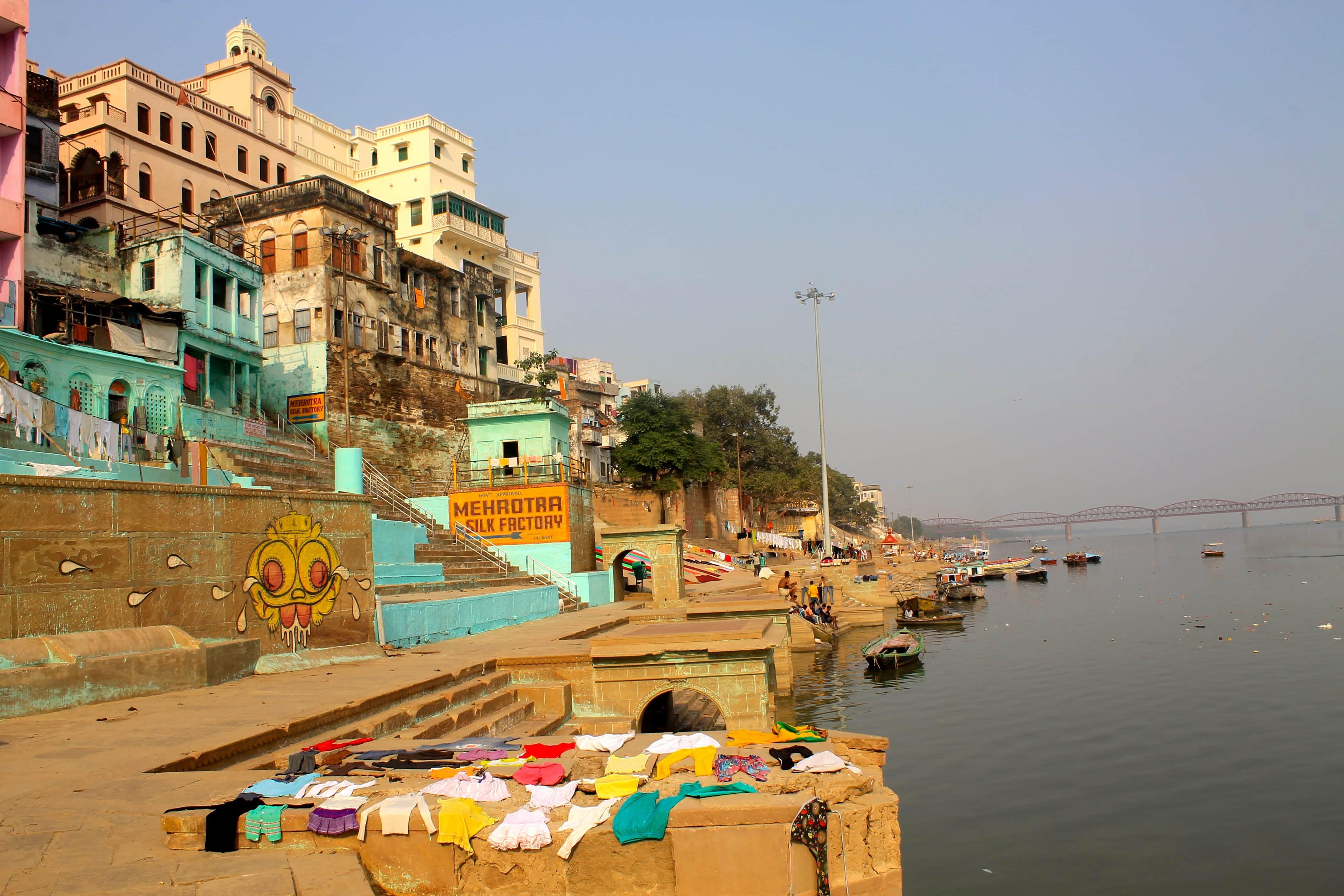 Views of the river backpacking Varanasi