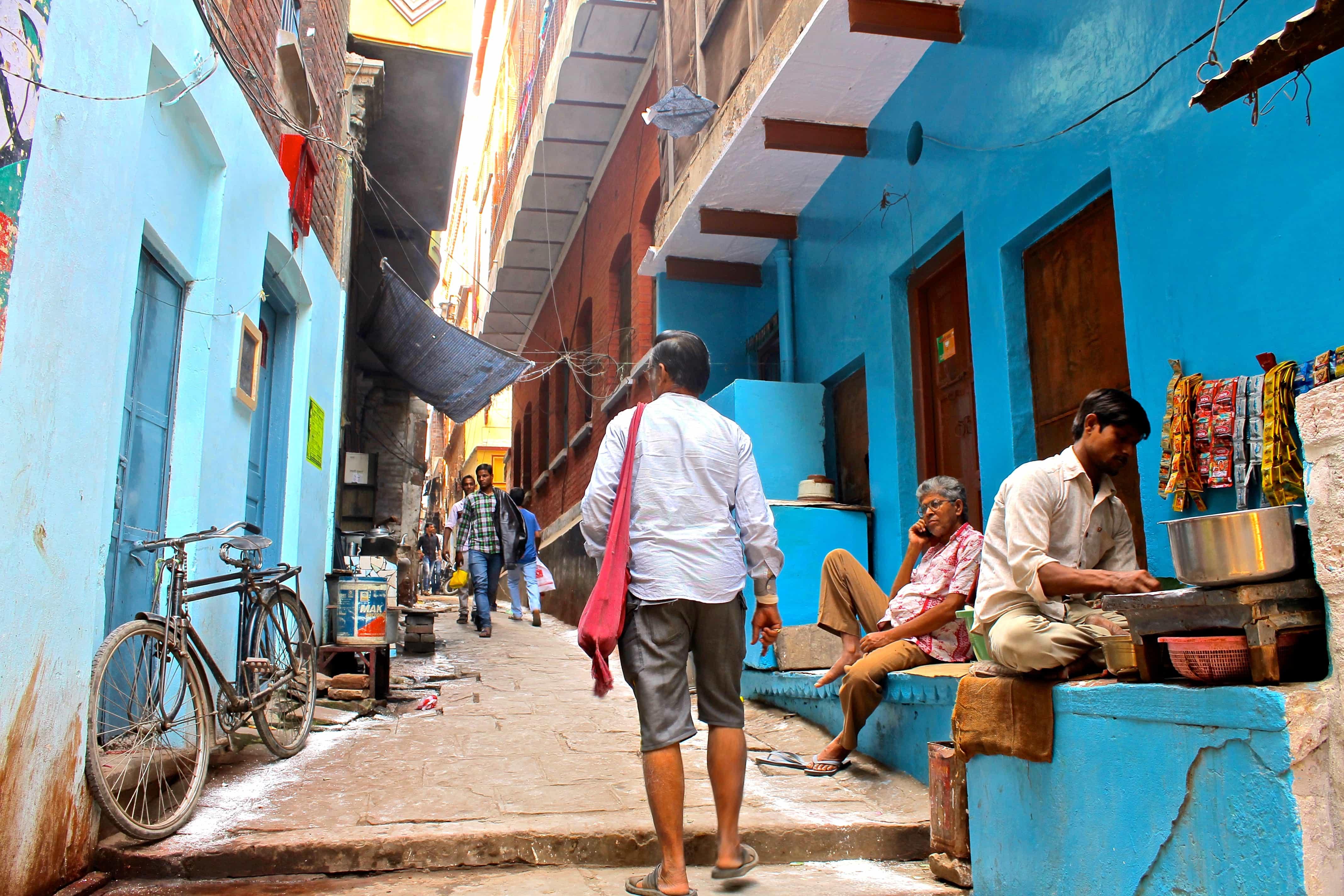 Walking around backpacking Varanasi