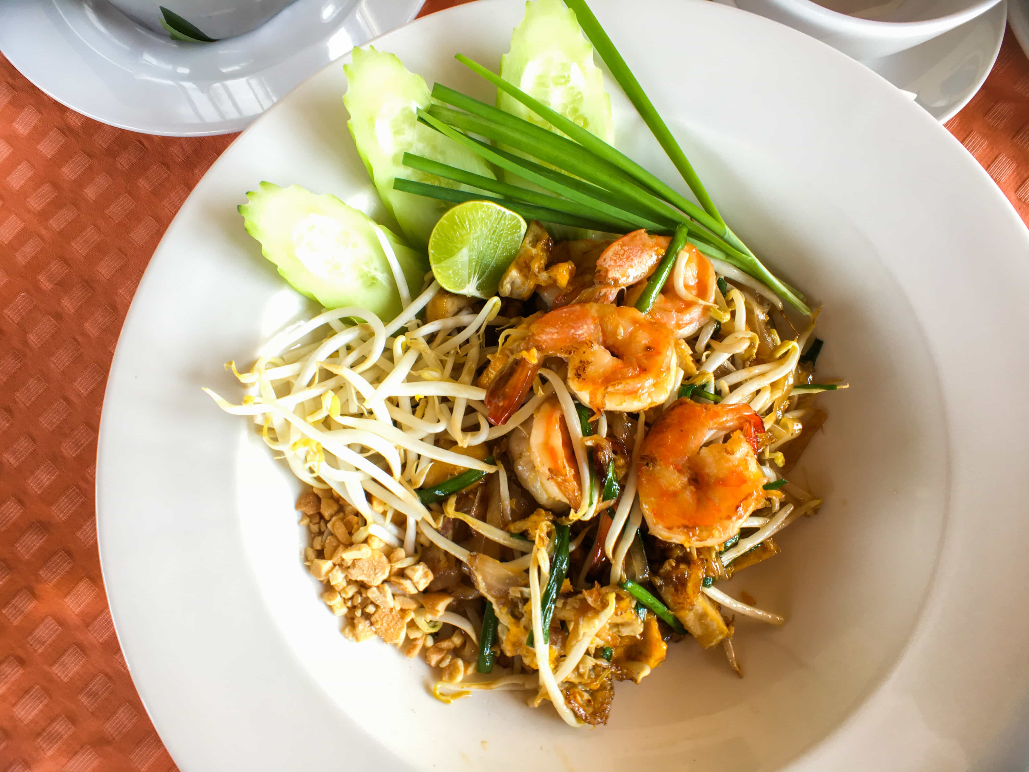 Our favorite Thai food in Thailand, noodles with seafood or pork and vegetables and we enjoyed it in Riva Arun Bangkok.