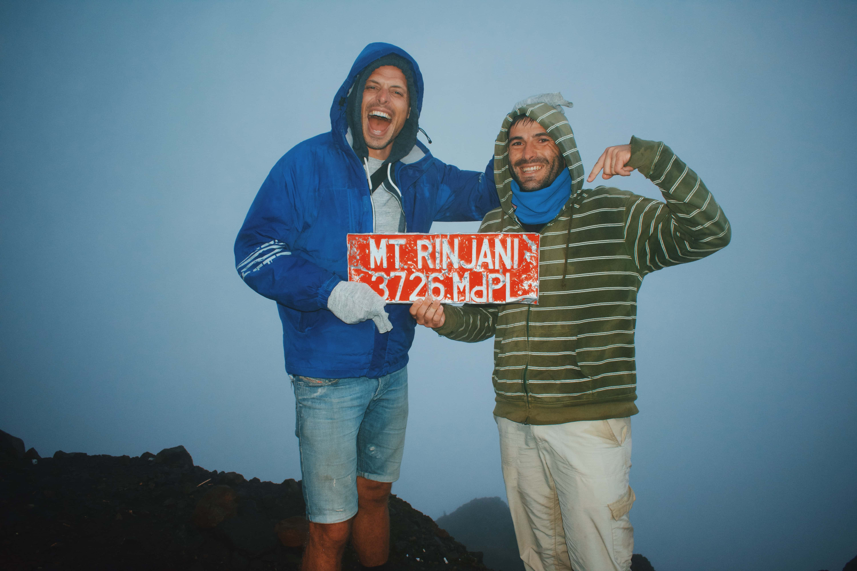 Traveltomtom and Gamintraveler on the highest point of Mount Rinjani.