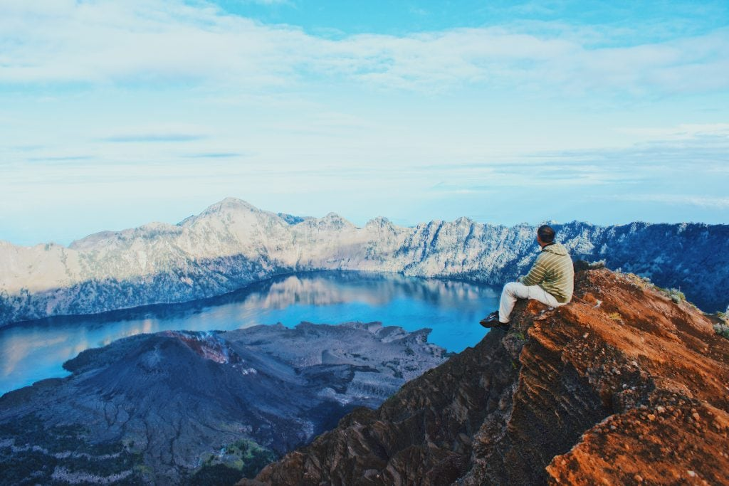 Sunset climbing Mount Rinjani
