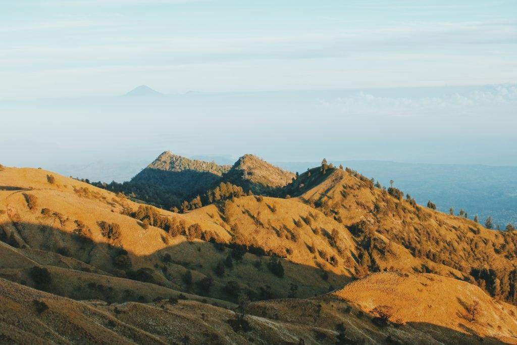 Sunrise climbing Mount Rinjani