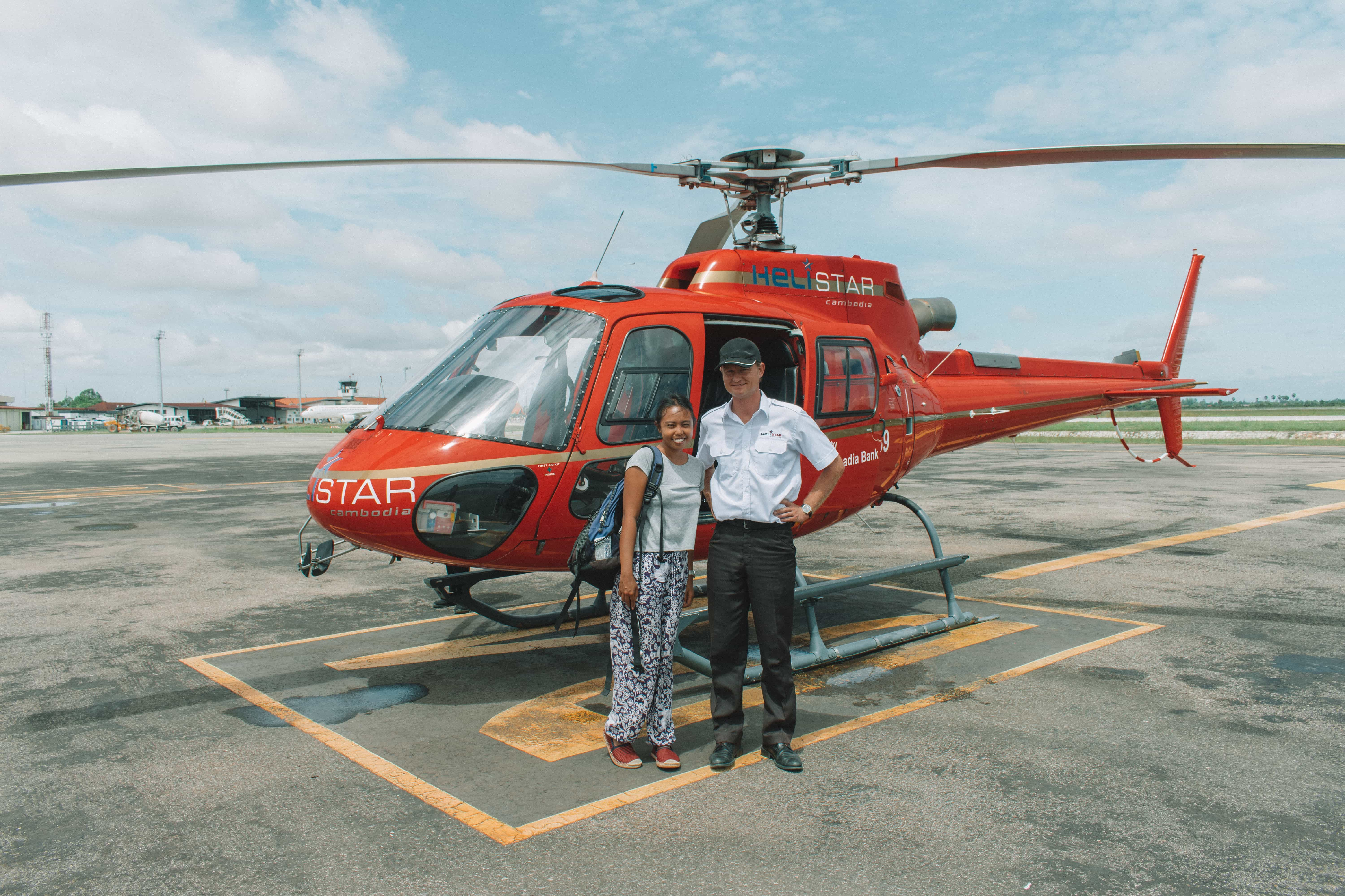 a helicopter scenic flight around Siem Reap with the captain